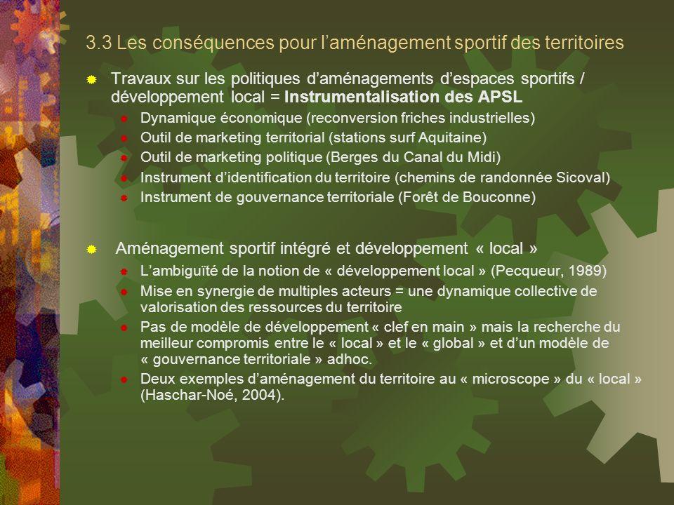 3.3 Les conséquences pour laménagement sportif des territoires Travaux sur les politiques daménagements despaces sportifs / développement local = Inst