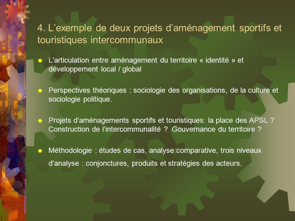 4. Lexemple de deux projets daménagement sportifs et touristiques intercommunaux Larticulation entre aménagement du territoire « identité » et dévelop