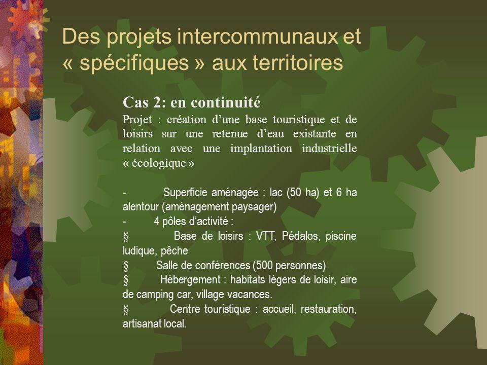 Des projets intercommunaux et « spécifiques » aux territoires Cas 2: en continuité Projet : création dune base touristique et de loisirs sur une reten