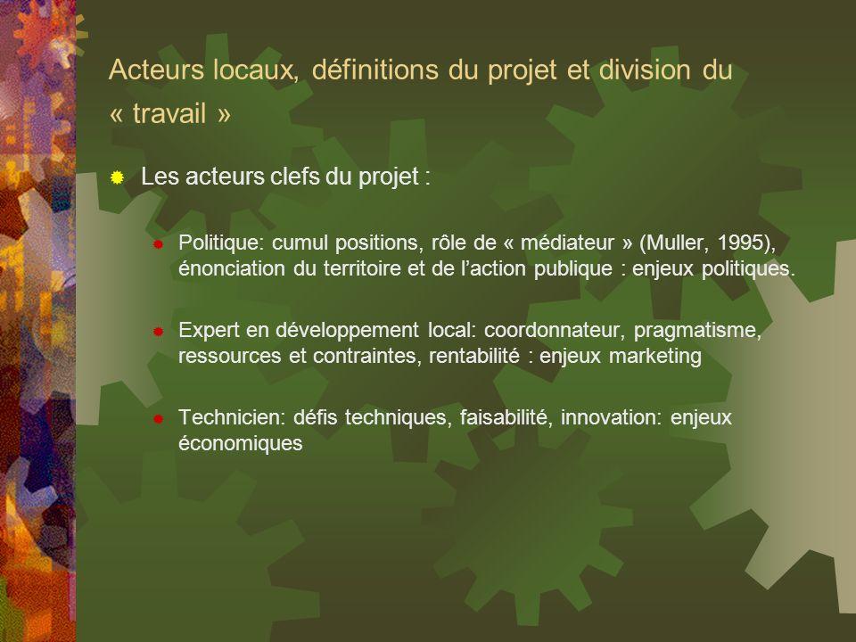 Acteurs locaux, définitions du projet et division du « travail » Les acteurs clefs du projet : Politique: cumul positions, rôle de « médiateur » (Mull