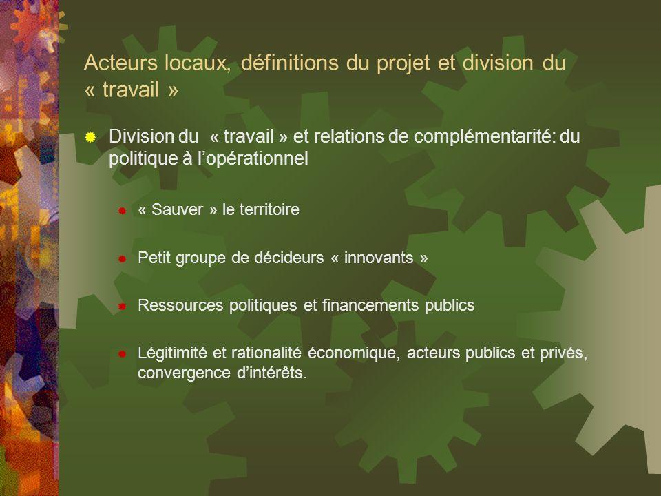 Acteurs locaux, définitions du projet et division du « travail » Division du « travail » et relations de complémentarité: du politique à lopérationnel