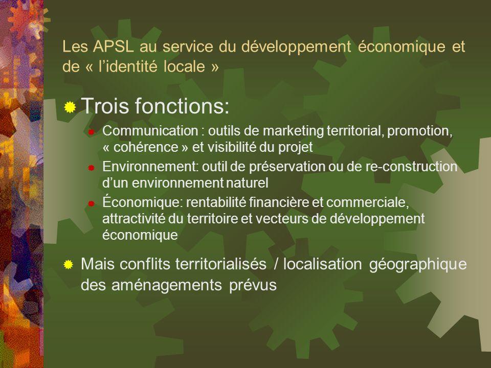 Les APSL au service du développement économique et de « lidentité locale » Trois fonctions: Communication : outils de marketing territorial, promotion