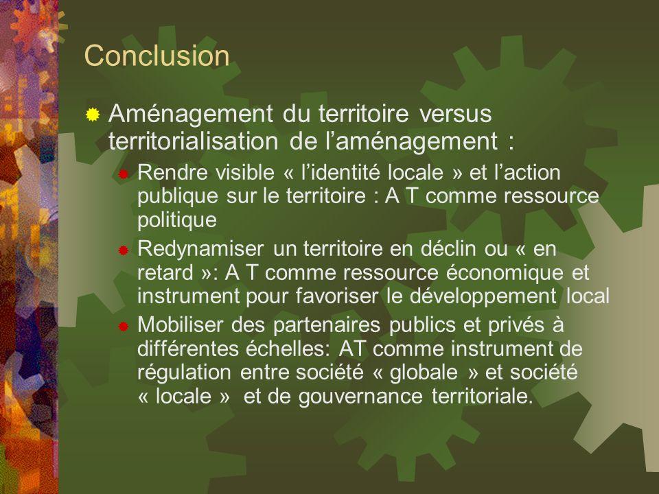 Conclusion Aménagement du territoire versus territorialisation de laménagement : Rendre visible « lidentité locale » et laction publique sur le territ