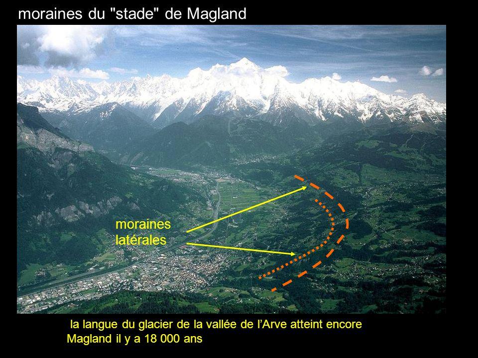 la langue du glacier de la vallée de lArve atteint encore Magland il y a 18 000 ans moraines du