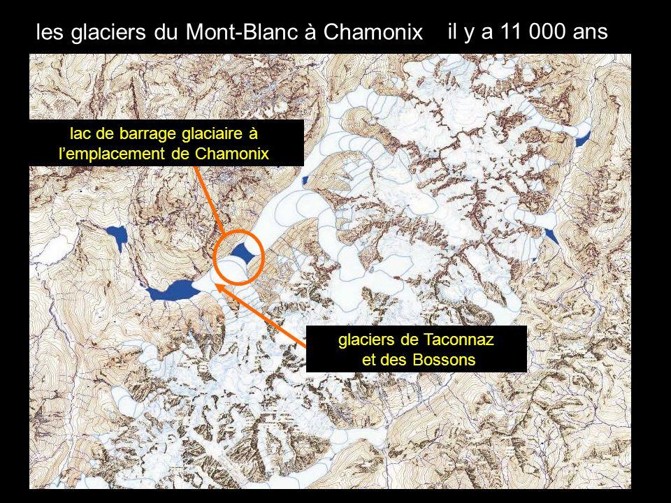 xyz il y a 11 000 ans les glaciers du Mont-Blanc à Chamonix glaciers de Taconnaz et des Bossons lac de barrage glaciaire à lemplacement de Chamonix