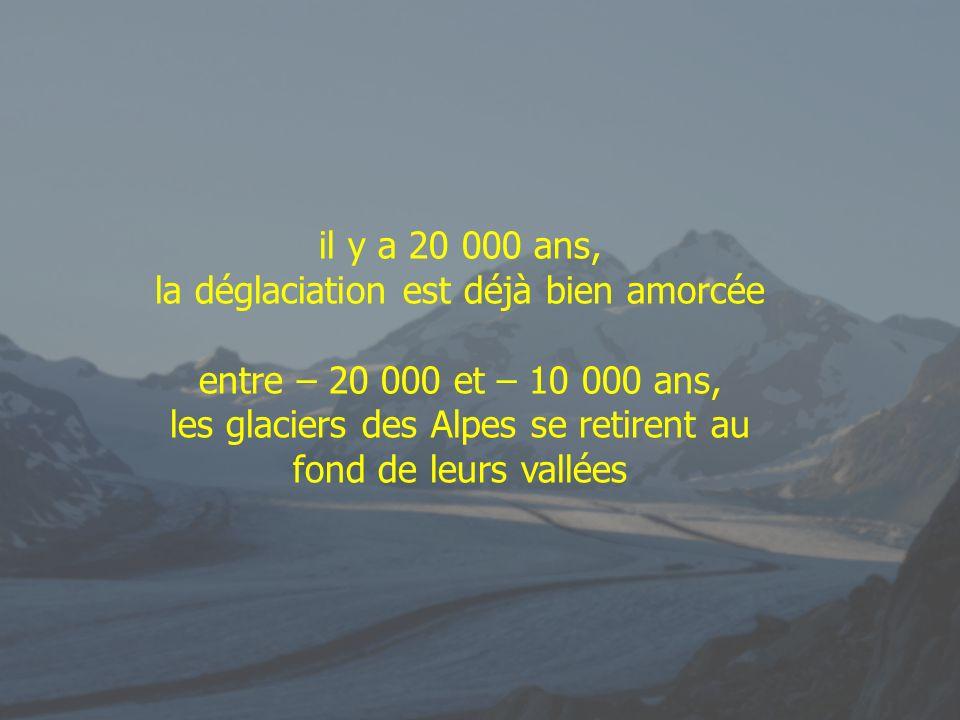 il y a 20 000 ans, la déglaciation est déjà bien amorcée entre – 20 000 et – 10 000 ans, les glaciers des Alpes se retirent au fond de leurs vallées