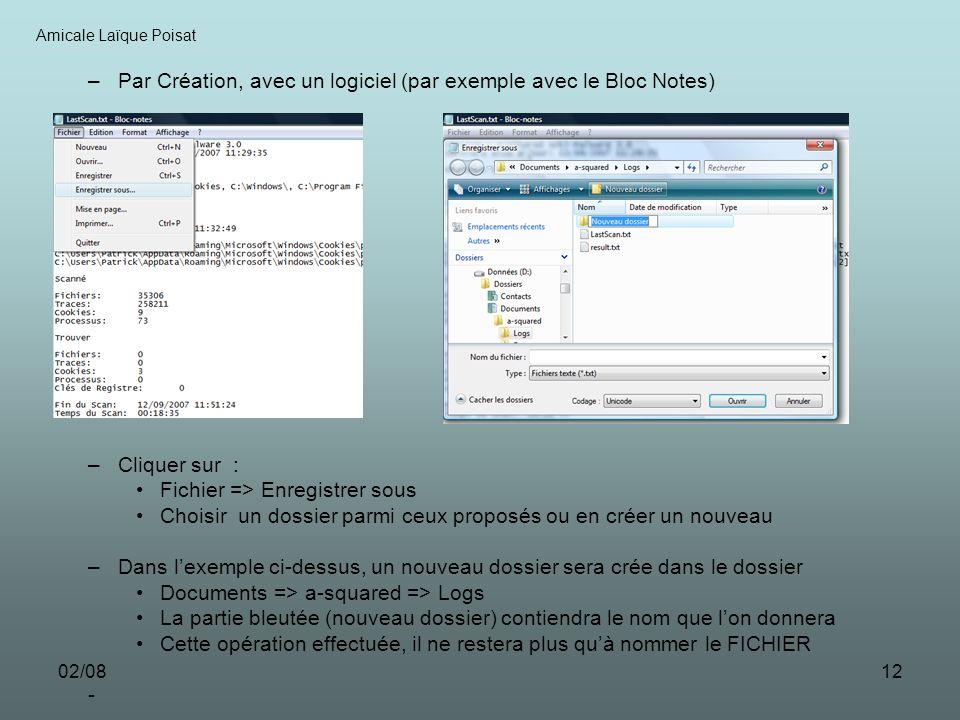 02/0812 –Par Création, avec un logiciel (par exemple avec le Bloc Notes) –Cliquer sur : Fichier => Enregistrer sous Choisir un dossier parmi ceux prop