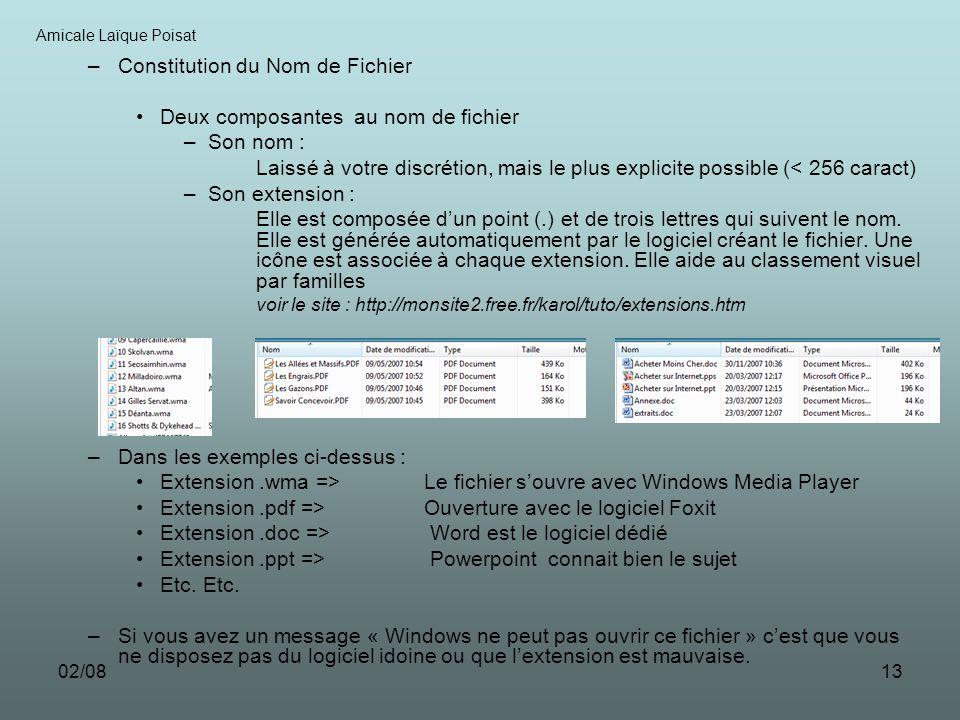 02/0813 –Constitution du Nom de Fichier Deux composantes au nom de fichier –Son nom : Laissé à votre discrétion, mais le plus explicite possible (< 25