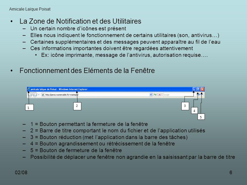 02/086 La Zone de Notification et des Utilitaires –Un certain nombre dicônes est présent –Elles nous indiquent le fonctionnement de certains utilitair
