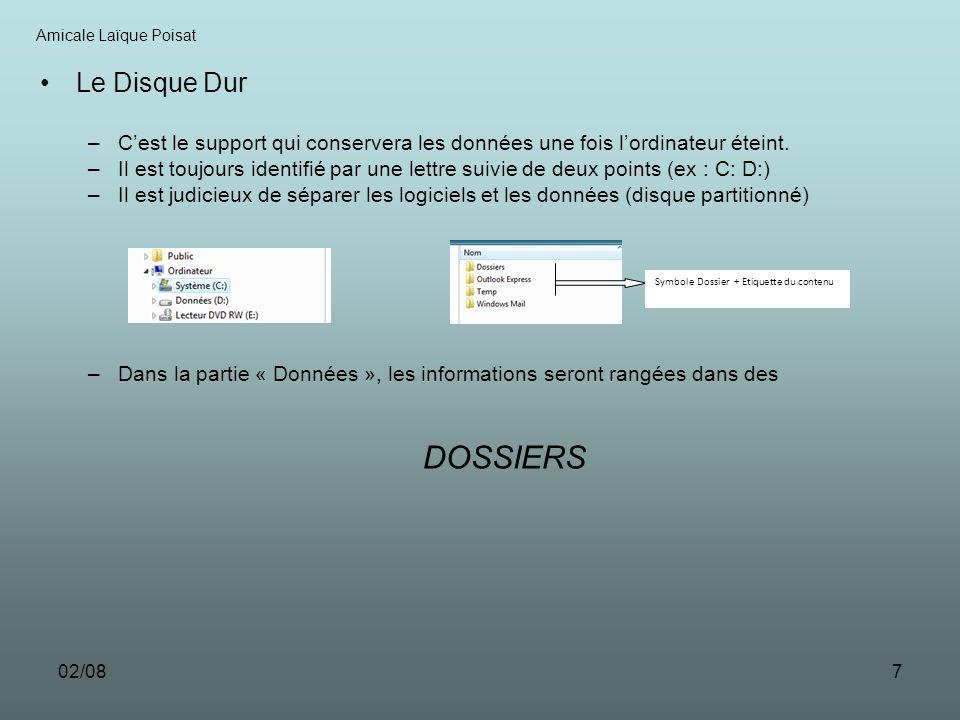 02/087 Le Disque Dur –Cest le support qui conservera les données une fois lordinateur éteint. –Il est toujours identifié par une lettre suivie de deux