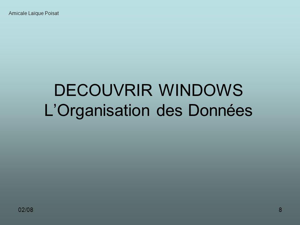 02/088 DECOUVRIR WINDOWS LOrganisation des Données Amicale Laïque Poisat