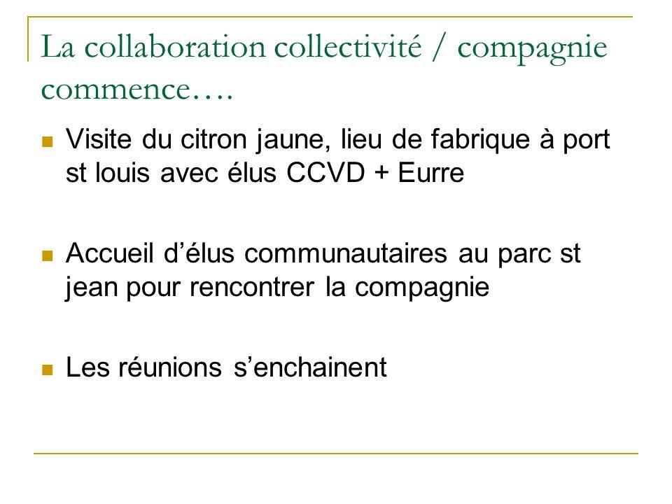La collaboration collectivité / compagnie commence….