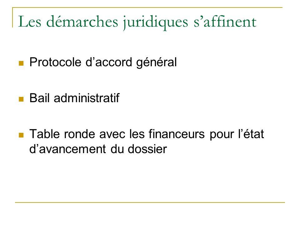 Les démarches juridiques saffinent Protocole daccord général Bail administratif Table ronde avec les financeurs pour létat davancement du dossier