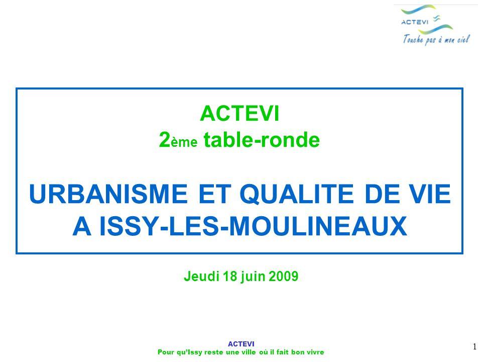 ACTEVI Pour quIssy reste une ville où il fait bon vivre 1 ACTEVI 2 ème table-ronde URBANISME ET QUALITE DE VIE A ISSY-LES-MOULINEAUX Jeudi 18 juin 200