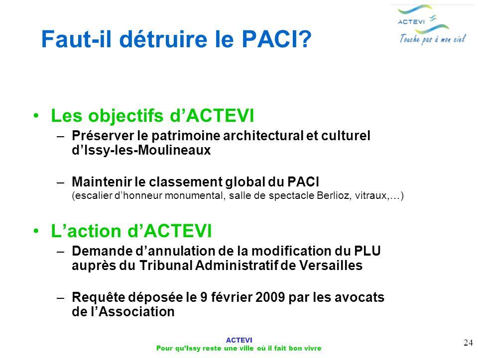 ACTEVI Pour quIssy reste une ville où il fait bon vivre 24 Les objectifs dACTEVI –Préserver le patrimoine architectural et culturel dIssy-les-Moulinea