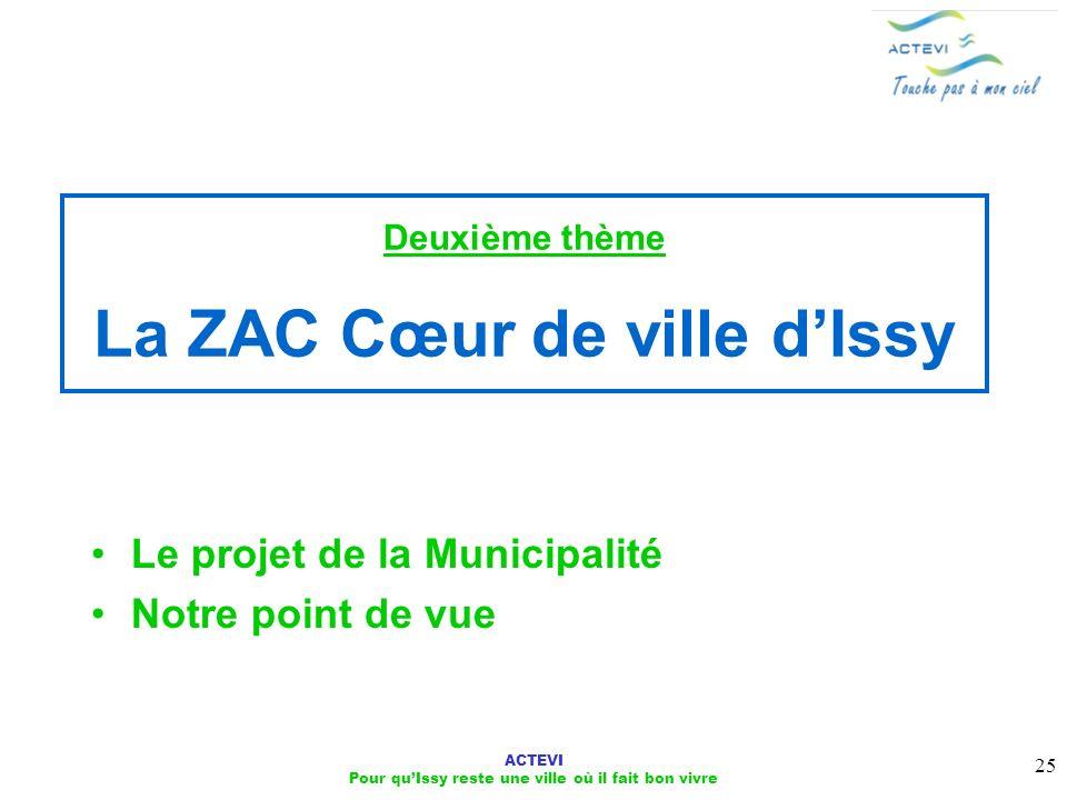 ACTEVI Pour quIssy reste une ville où il fait bon vivre 25 Deuxième thème La ZAC Cœur de ville dIssy Le projet de la Municipalité Notre point de vue