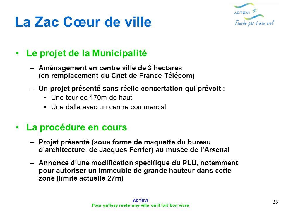 ACTEVI Pour quIssy reste une ville où il fait bon vivre 26 La Zac Cœur de ville Le projet de la Municipalité –Aménagement en centre ville de 3 hectare