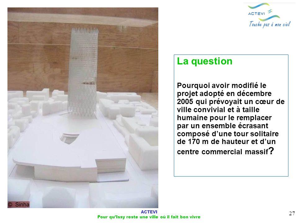 ACTEVI Pour quIssy reste une ville où il fait bon vivre 27 La question Pourquoi avoir modifié le projet adopté en décembre 2005 qui prévoyait un cœur