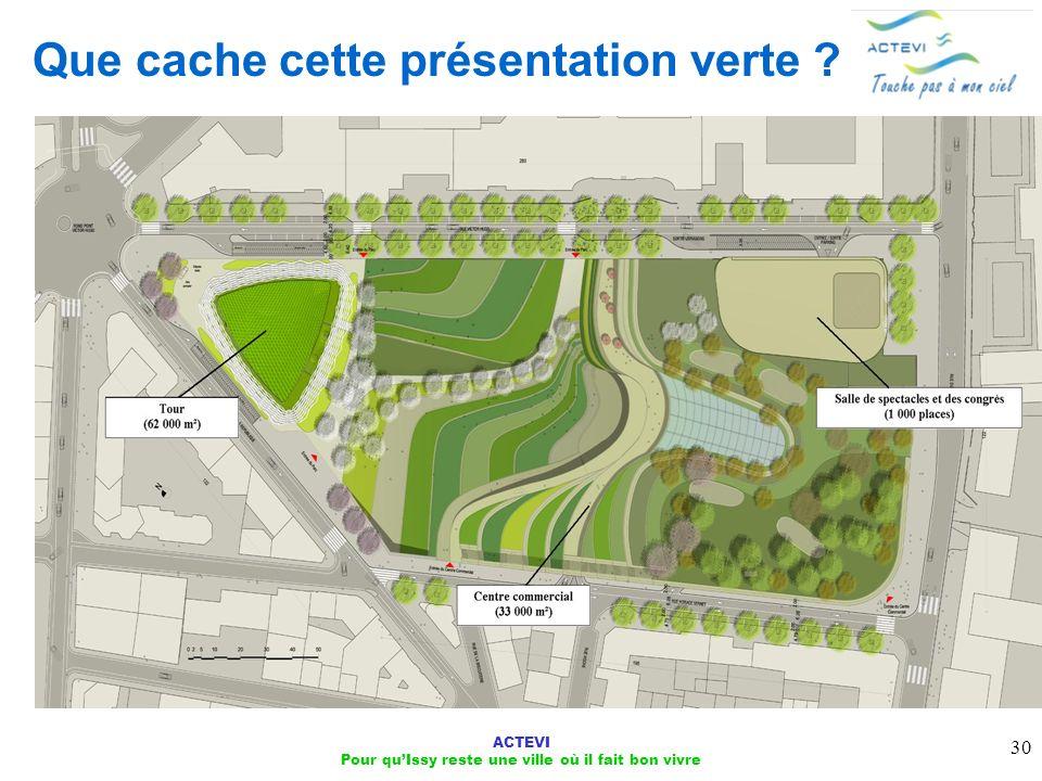 ACTEVI Pour quIssy reste une ville où il fait bon vivre 30 Que cache cette présentation verte ?