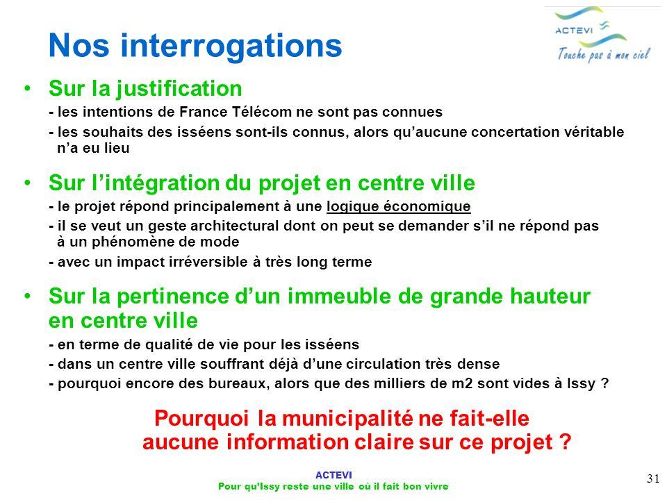 ACTEVI Pour quIssy reste une ville où il fait bon vivre 31 Nos interrogations Sur la justification - les intentions de France Télécom ne sont pas conn