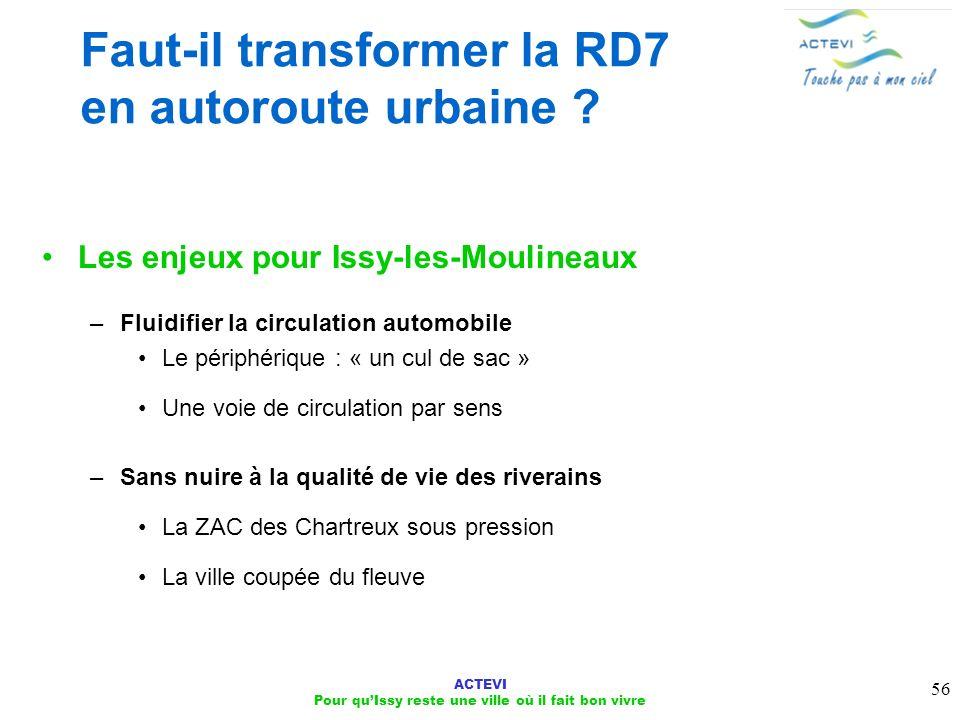 ACTEVI Pour quIssy reste une ville où il fait bon vivre 56 Faut-il transformer la RD7 en autoroute urbaine ? Les enjeux pour Issy-les-Moulineaux –Flui