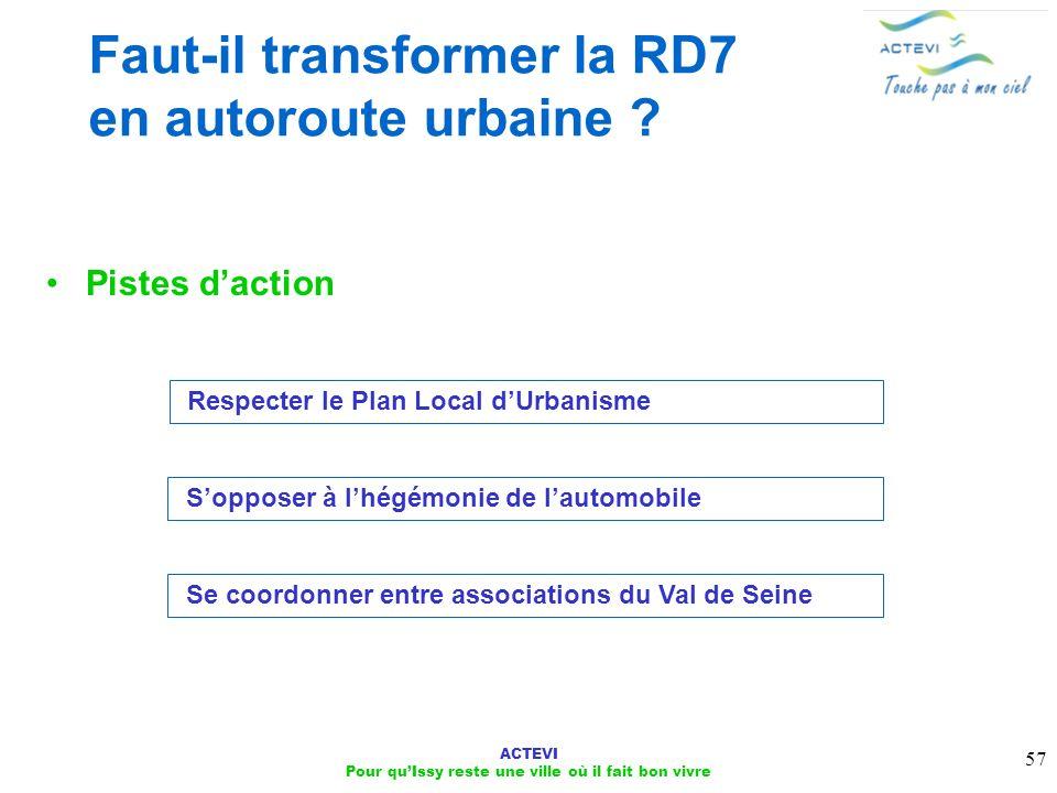 ACTEVI Pour quIssy reste une ville où il fait bon vivre 57 Faut-il transformer la RD7 en autoroute urbaine ? Pistes daction Respecter le Plan Local dU