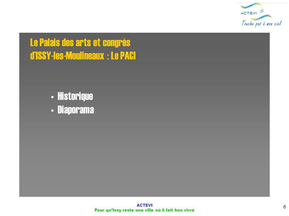ACTEVI Pour quIssy reste une ville où il fait bon vivre 6 Le Palais des arts et congrès dISSY-les-Moulineaux : Le PACI Historique Diaporama