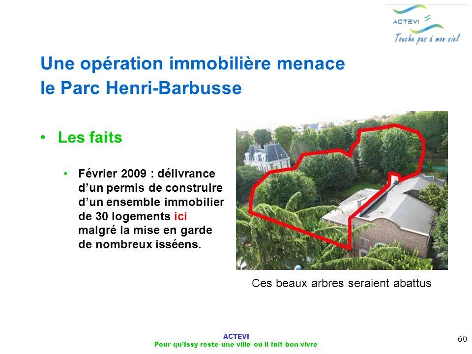 ACTEVI Pour quIssy reste une ville où il fait bon vivre 60 Une opération immobilière menace le Parc Henri-Barbusse Les faits Février 2009 : délivrance