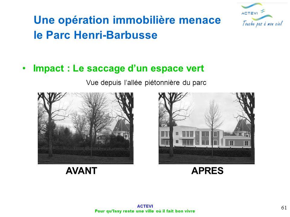 ACTEVI Pour quIssy reste une ville où il fait bon vivre 61 Une opération immobilière menace le Parc Henri-Barbusse Impact : Le saccage dun espace vert