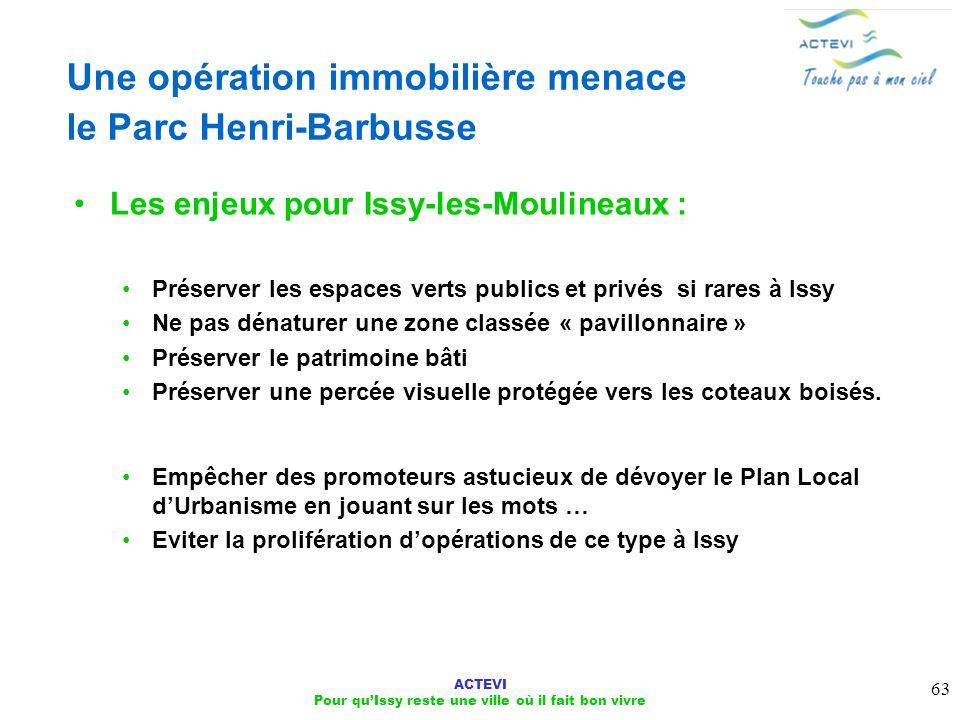 ACTEVI Pour quIssy reste une ville où il fait bon vivre 63 Une opération immobilière menace le Parc Henri-Barbusse Les enjeux pour Issy-les-Moulineaux