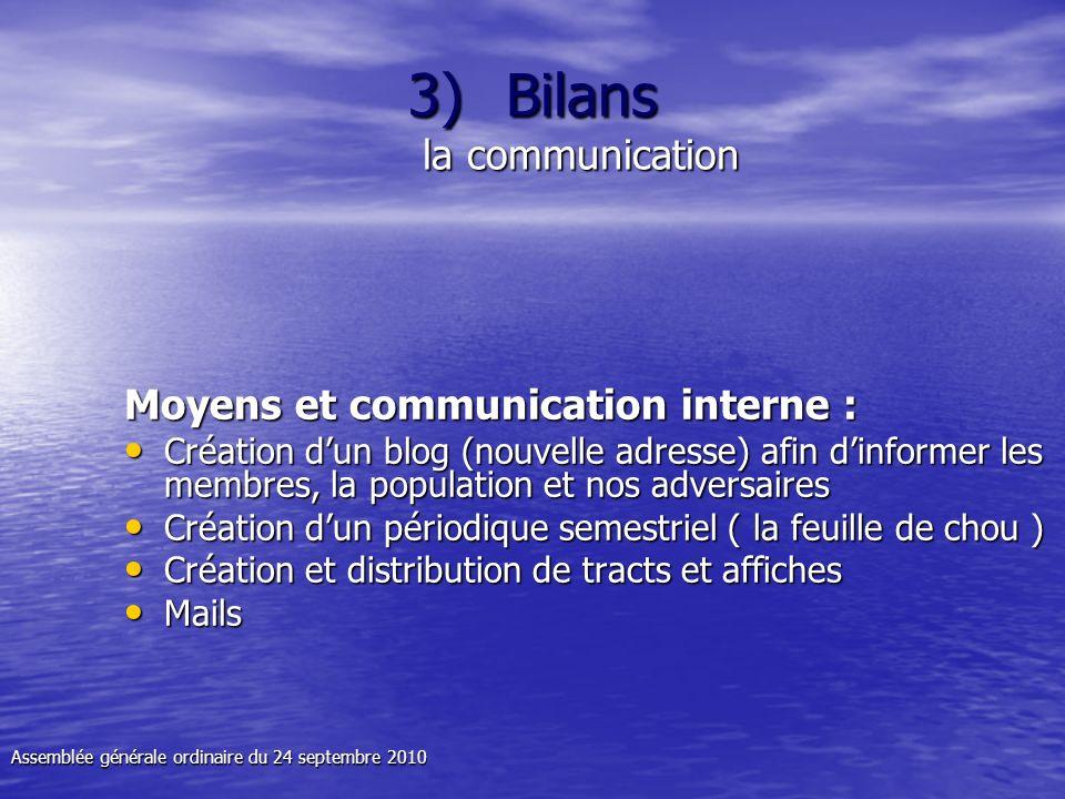 3)Bilans la communication Moyens et communication interne : Création dun blog (nouvelle adresse) afin dinformer les membres, la population et nos adve