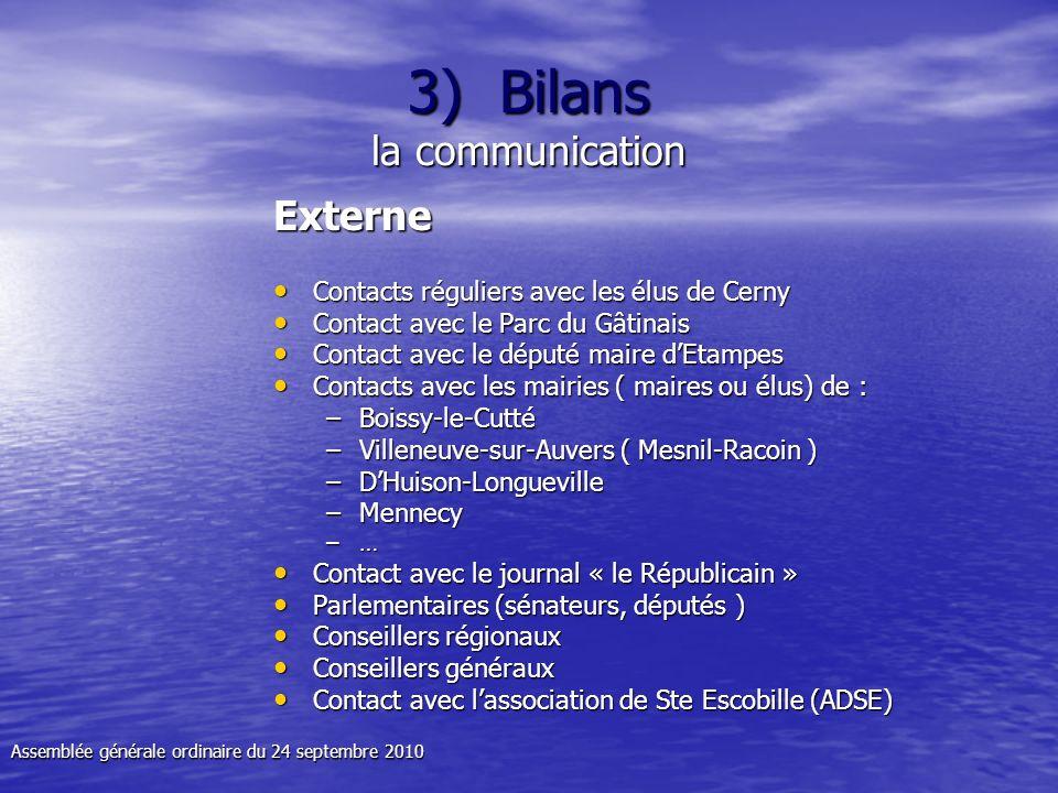 3) Bilans la communication Externe Contacts réguliers avec les élus de Cerny Contacts réguliers avec les élus de Cerny Contact avec le Parc du Gâtinai