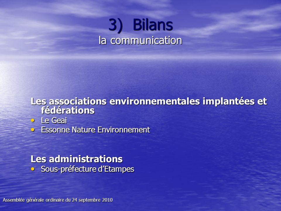 3) Bilans la communication Les associations environnementales implantées et fédérations Le Geai Le Geai Essonne Nature Environnement Essonne Nature En