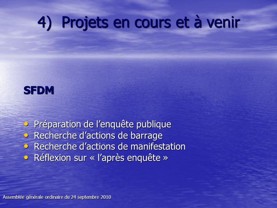 4) Projets en cours et à venir SFDM Préparation de lenquête publique Préparation de lenquête publique Recherche dactions de barrage Recherche dactions