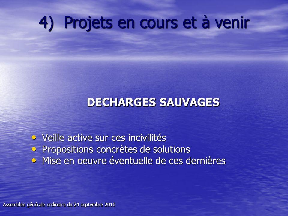 4) Projets en cours et à venir DECHARGES SAUVAGES Veille active sur ces incivilités Veille active sur ces incivilités Propositions concrètes de soluti