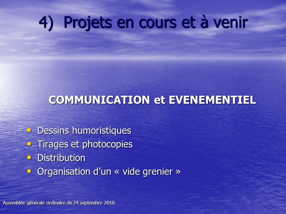 4) Projets en cours et à venir COMMUNICATION et EVENEMENTIEL Dessins humoristiques Dessins humoristiques Tirages et photocopies Tirages et photocopies