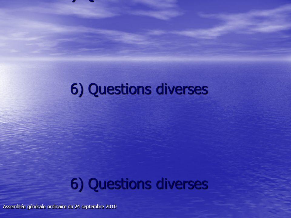 6) Questions diverses 6) Questions diverses 6) Questions diverses 6) Questions diverses Assemblée générale ordinaire du 24 septembre 2010