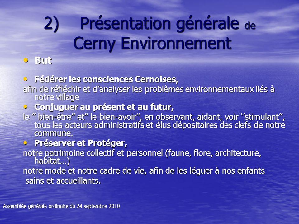 But But Fédérer les consciences Cernoises, Fédérer les consciences Cernoises, afin de réfléchir et danalyser les problèmes environnementaux liés à not