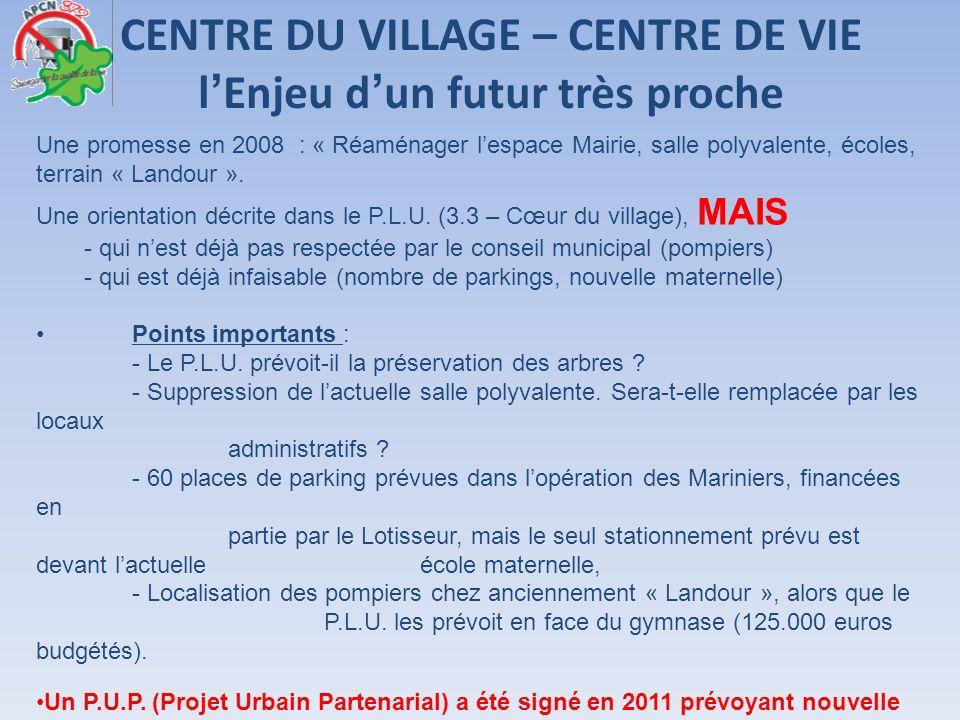 CENTRE DU VILLAGE – CENTRE DE VIE lEnjeu dun futur très proche Une promesse en 2008 : « Réaménager lespace Mairie, salle polyvalente, écoles, terrain
