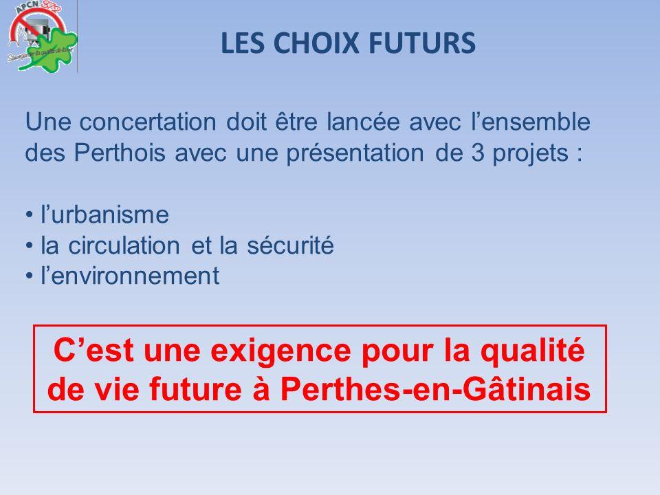 LES CHOIX FUTURS Cest une exigence pour la qualité de vie future à Perthes-en-Gâtinais Une concertation doit être lancée avec lensemble des Perthois a
