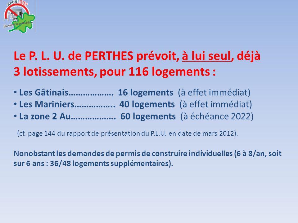 Le P. L. U. de PERTHES prévoit, à lui seul, déjà 3 lotissements, pour 116 logements : Les Gâtinais………………. 16 logements (à effet immédiat) Les Marinier