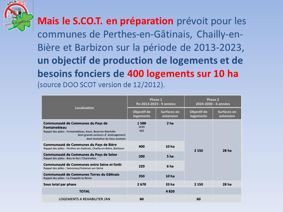 Mais le S.CO.T. en préparation prévoit pour les communes de Perthes-en-Gâtinais, Chailly-en- Bière et Barbizon sur la période de 2013-2023, un objecti