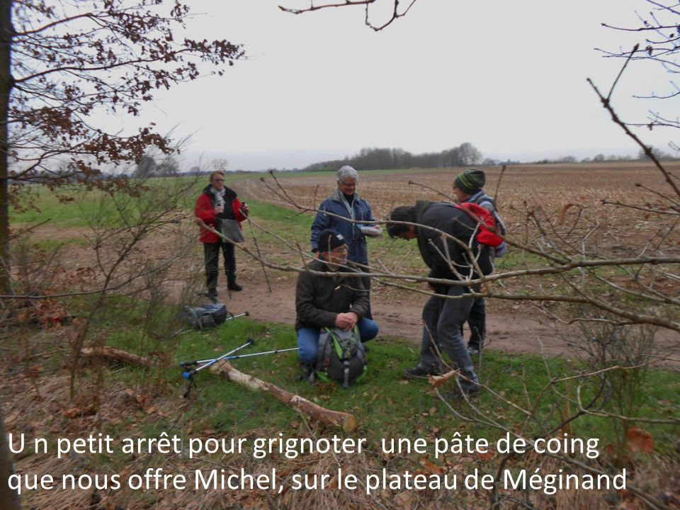 U n petit arrêt pour grignoter une pâte de coing que nous offre Michel, sur le plateau de Méginand
