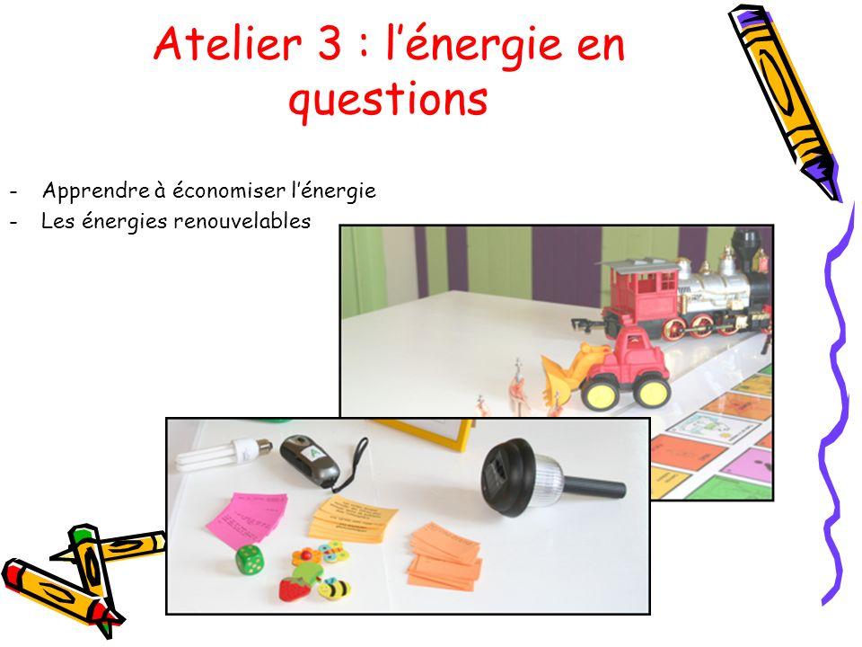 Atelier 3 : lénergie en questions -Apprendre à économiser lénergie -Les énergies renouvelables