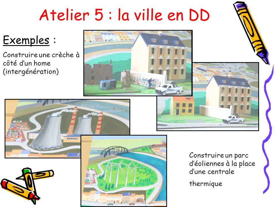 Atelier 5 : la ville en DD Exemples : Construire une crèche à côté dun home (intergénération) Construire un parc déoliennes à la place dune centrale t