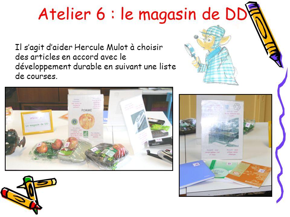 Atelier 6 : le magasin de DD Il sagit daider Hercule Mulot à choisir des articles en accord avec le développement durable en suivant une liste de cour