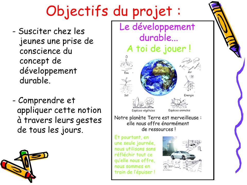 Objectifs du projet : - Susciter chez les jeunes une prise de conscience du concept de développement durable. - Comprendre et appliquer cette notion à