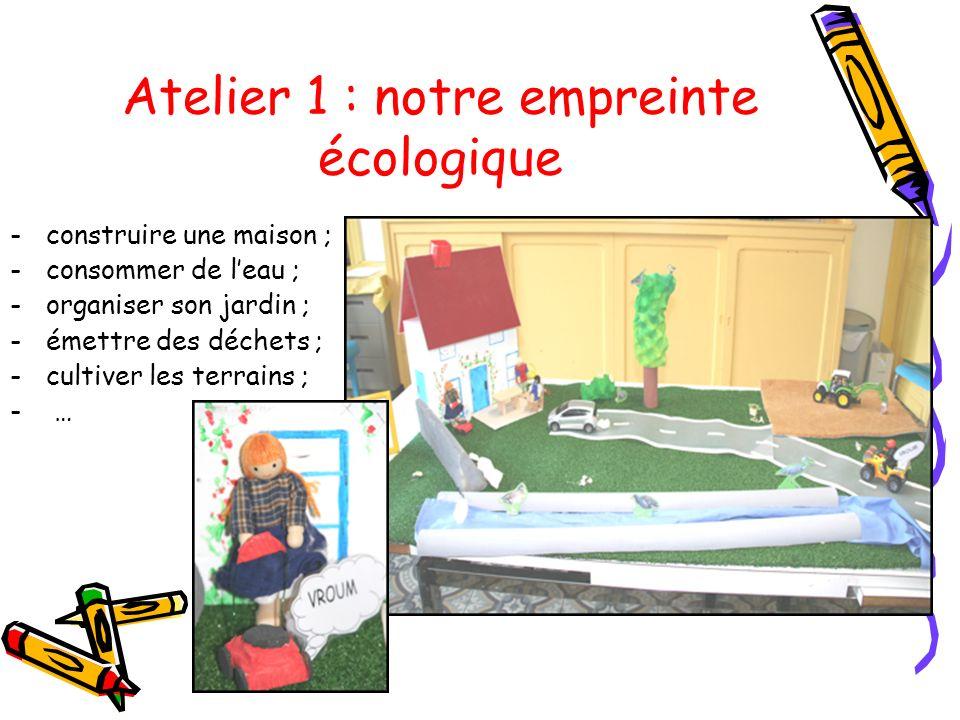 Atelier 1 : notre empreinte écologique -construire une maison ; -consommer de leau ; -organiser son jardin ; -émettre des déchets ; -cultiver les terr