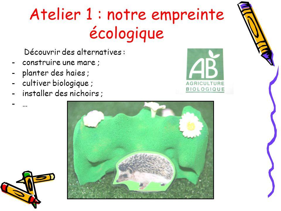 Atelier 1 : notre empreinte écologique Découvrir des alternatives : -construire une mare ; -planter des haies ; -cultiver biologique ; -installer des