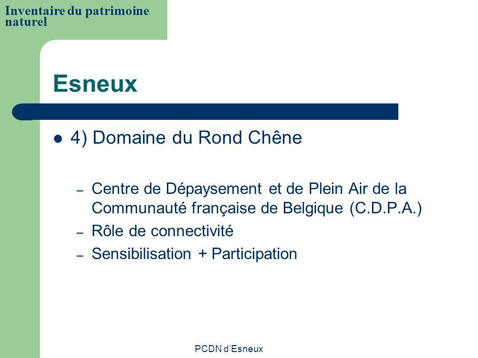 Esneux 4) Domaine du Rond Chêne – Centre de Dépaysement et de Plein Air de la Communauté française de Belgique (C.D.P.A.) – Rôle de connectivité – Sen